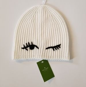 Kate Spade Knitted Winking White/Black Beanie